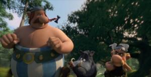 Obélix et Astérix chasse le sanglier.