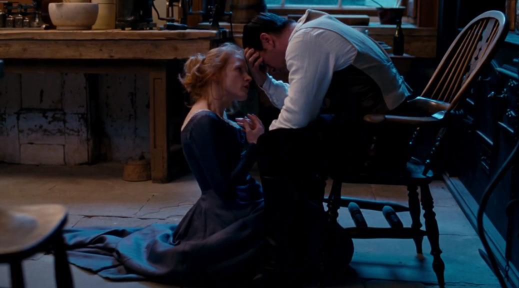 Jessica Chastain et Colin Farrell dans Miss Julie