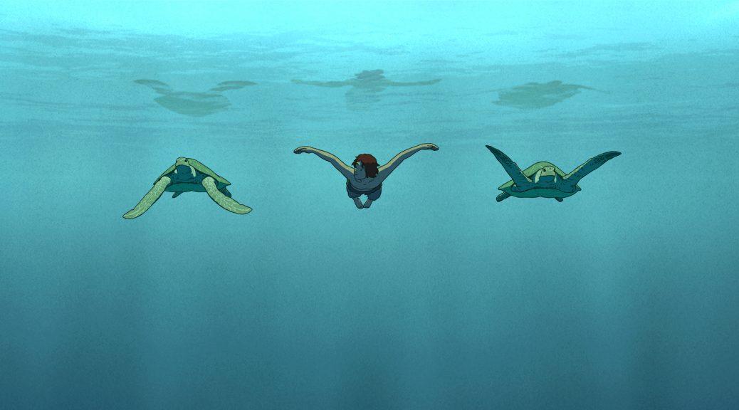 Le personnage nage avec deux tortues géantes, dans La tortue rouge.
