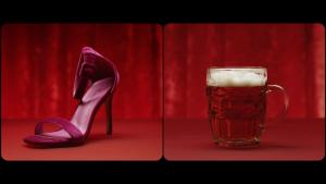 Chaussure féminine et bière, dans Pink or Blue