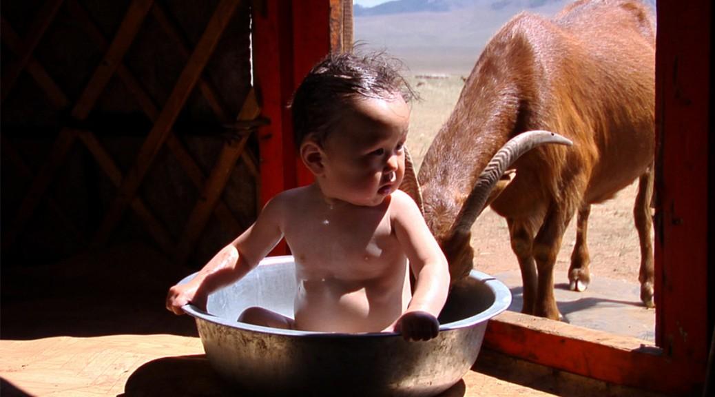 En Mogolie, bébé Bayarjargal prend un bain.